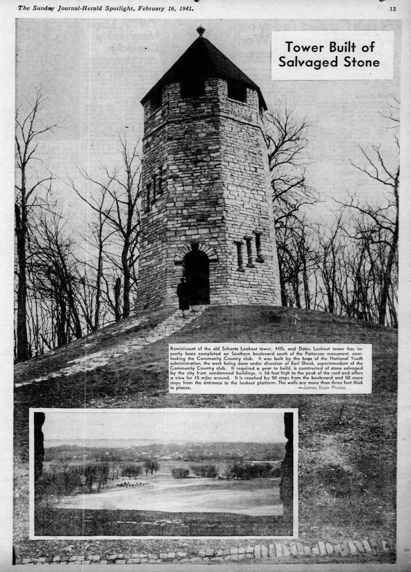 Soon after Lookout Tower in Hills & Dales Park was completed it was featured in the Dayton Journal Herald on Feb. 16, 1941.