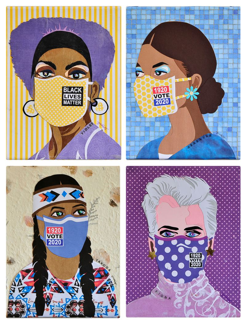 """Yvette Walker-Dalton, 76, created a series of 26 vivid collage pieces called """"Celebration of American Woman A-Z,"""" which is on display virtually and by-appointment at EboNia Gallery in Dayton, February 15 through April 30."""