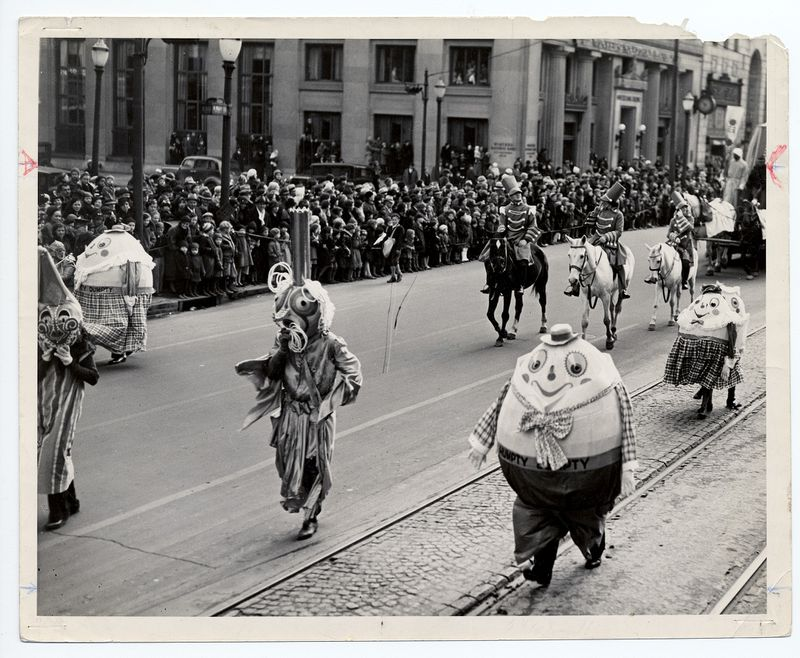 Rike's Humpty Dumpty family is part of the 1935 Rike's Thanksgiving Day Parade in Dayton. PHOTO COURTESY OF THE OHIO HISTORY CONNECTION